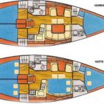Sun Odyssey 40 Libra layout interni giorno-notte