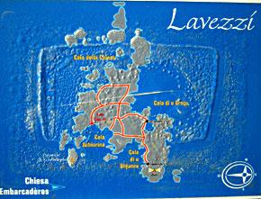 mappa dell'isola di Lavezzi-riserva naturale